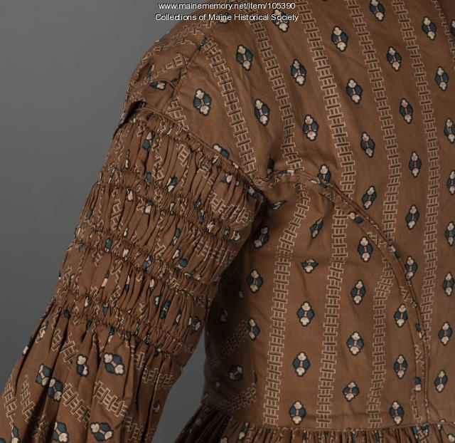 Gigot (leg-of-mutton) sleeve dress, Eastport, ca. 1838