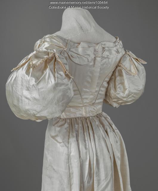 Sally Holmes's silk satin evening gown, Alfred, ca. 1825