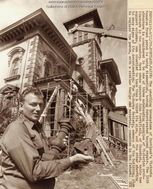Repairing Victoria Mansion, Portland, 1979