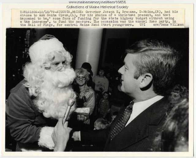 Governor Brennan and Santa Claus, Augusta, 1979