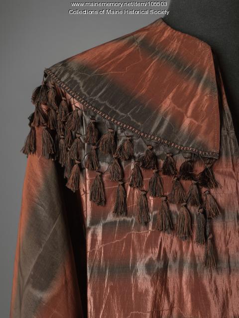Watered silk cape, ca. 1865