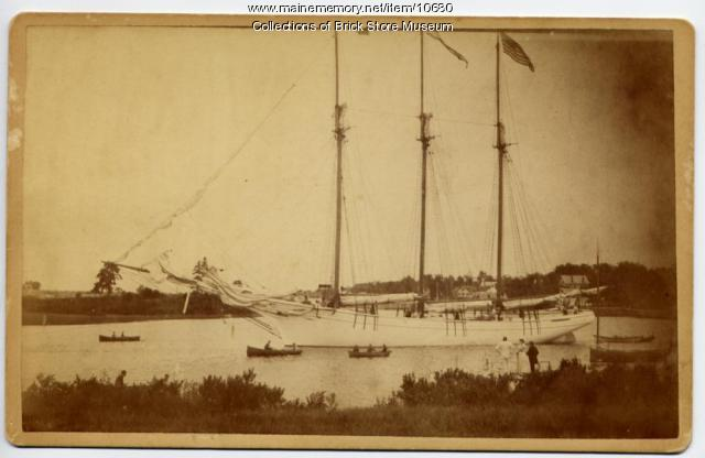 Schooner Julia Frances leaving the Kennebunk River, 1889
