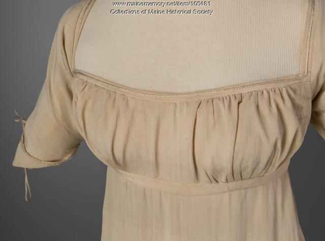 Empire waist silk dress, Portland, ca. 1810