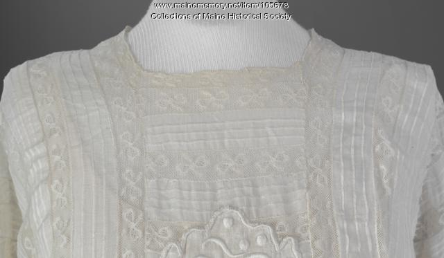 White basiste cotton dress, Brownville, ca. 1905
