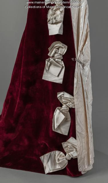 Mary King Scrimgeour's embellished velvet and satin gown, Lewiston, ca. 1895