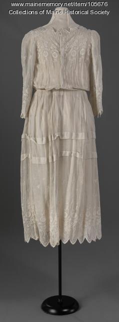 Whitework summer dress, ca. 1917
