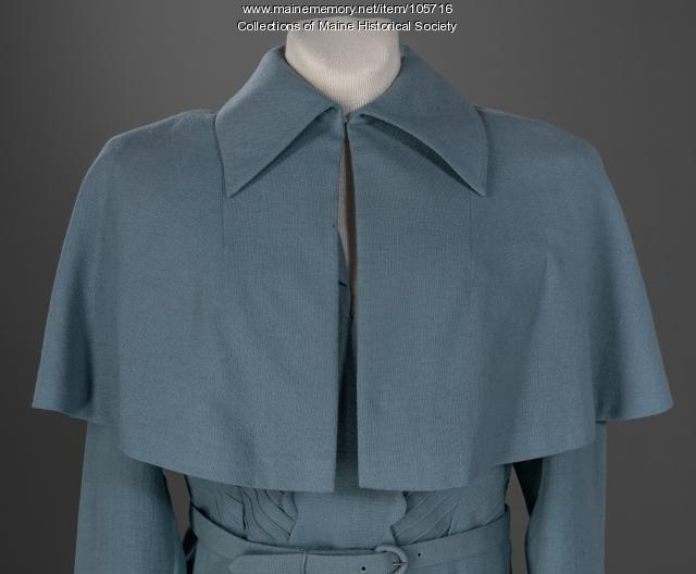 Powder blue suit with caplet, ca. 1950