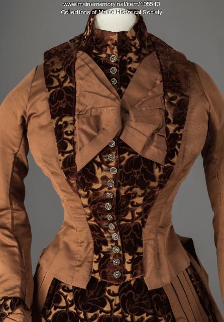 Silk faille and cut velvet bustle dress, ca. 1885