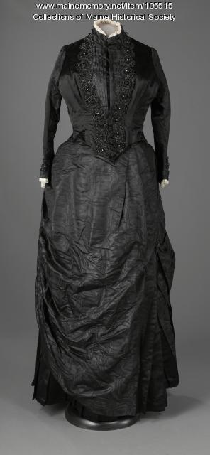 Sarah S. Wilson's beaded silk two-piece ensemble, Waterford, ca. 1888