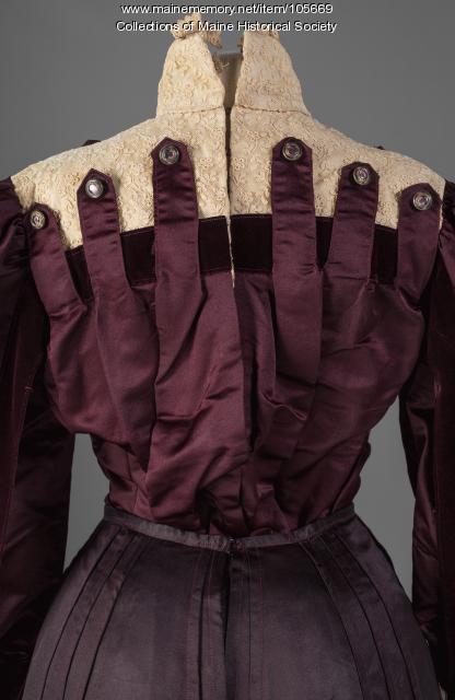 Annie Merrill's plum-colored ensemble, Gardiner, ca. 1903
