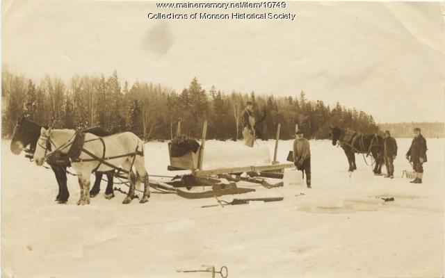 Ice Cutting, Lake Hebron, Monson, ca. 1900