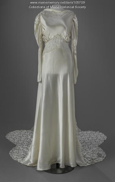 Bessie Rodis' wedding gown, Portland, ca. 1938