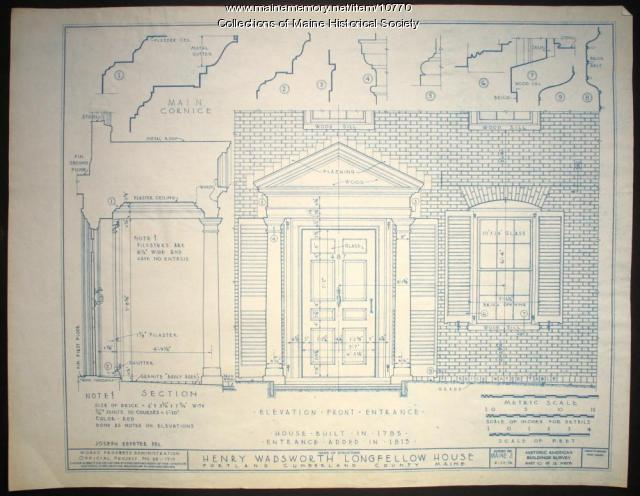 Entrance elevation for the Wadsworth-Longfellow House