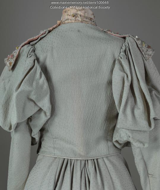 Nellie Ryan Abbott's fancy weave dress, Presque Isle, ca. 1898