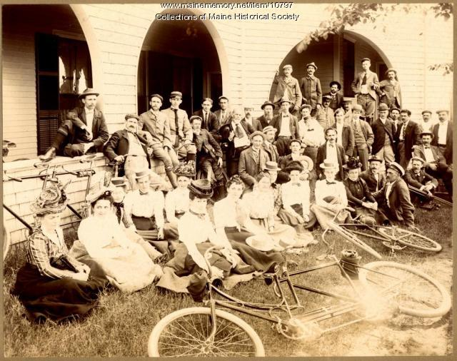 Bicyclists relaxing, Scarborough, ca. 1895
