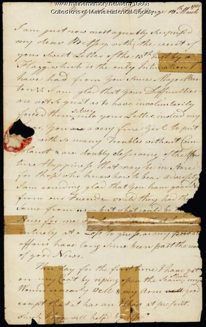 Letter from Peleg Wadsworth to his wife, Betsey, Mar. 15, 1781