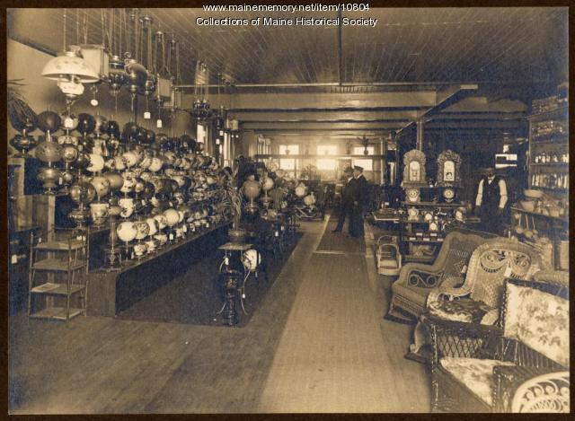 Lamp department, Atherton Furniture, Waterville, ca. 1910