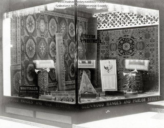 Carpet window, Atherton Furniture, Waterville, ca. 1910