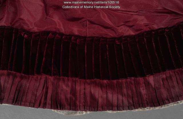 Taffeta and velvet bustle dress ensemble, ca. 1880