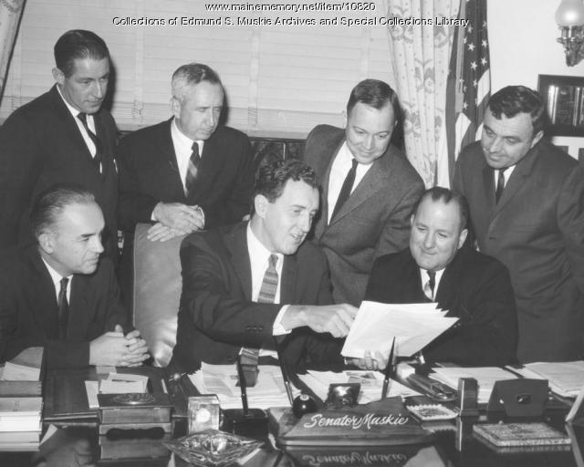 Muskie, Coffin and Lewiston civic leaders, Washington, D.C., ca. 1959