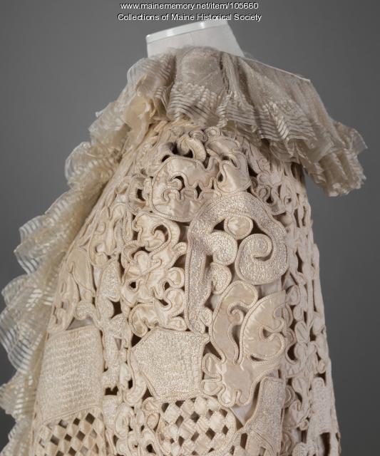 Mary K. Scrimgeour's elabroate evening coat, Ontario, ca. 1875
