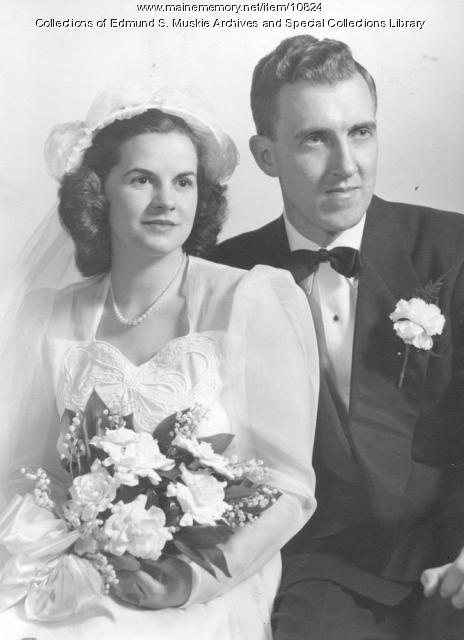 Muskie wedding picture, Waterville, 1948