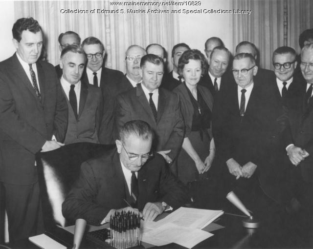 President Lyndon B. Johnson signs the Clean Air Act, December 17, 1963