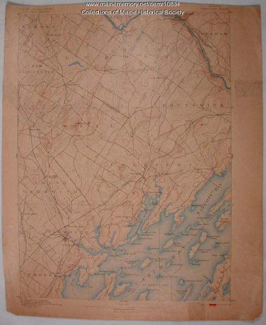 Maine, Freeport sheet, Topographic map, 1892