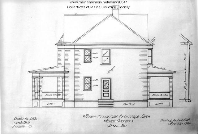 Architectural drawing of a cottage for Kineo Company, 1901