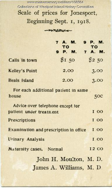 Medical services fee card, Jonesport, 1918