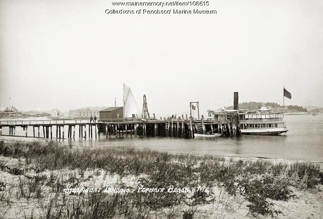 Steamboat landing, Popham Beach, ca. 1910