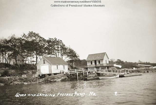 Store and landing on Fosters Point, West Bath, ca. 1910