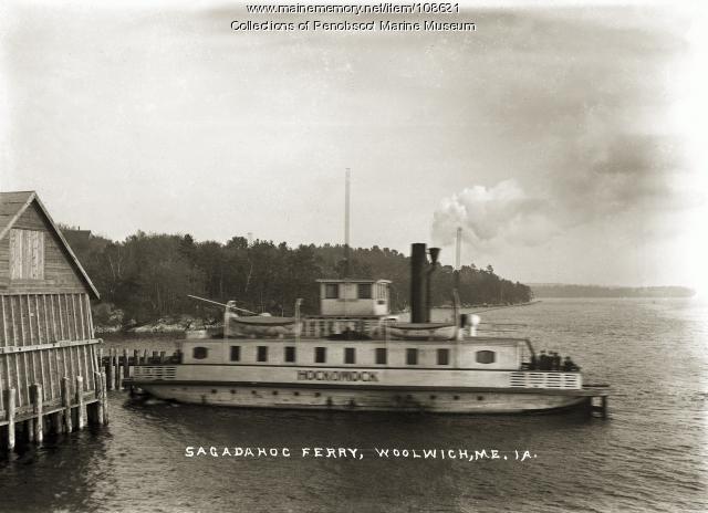 """""""Hockomock"""" at Sagadahoc Ferry, Woolwich, ca. 1910"""