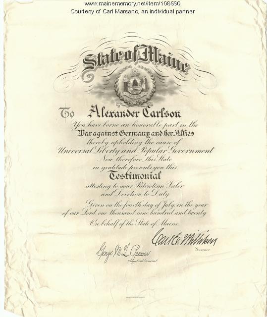 Alexander Carlson World War Certificate, 1920