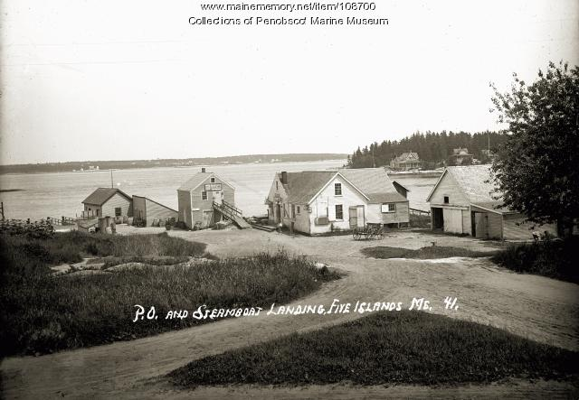 Post office and steamboat landing at Five Islands, Georgetown, ca. 1910