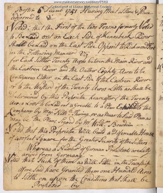Kennebec Proprietor meeting notes, Boston, 1751