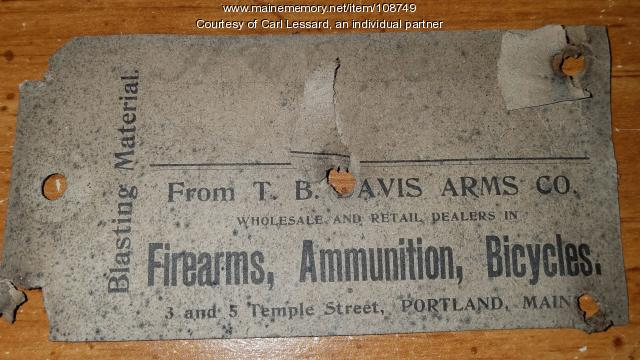 T. B. Davis Arms Company business card, ca. 1900