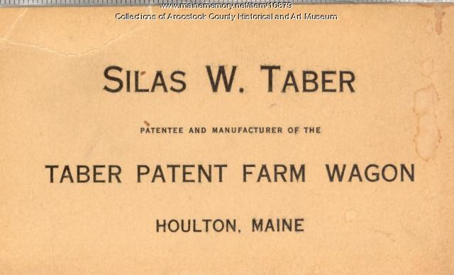 Silas W. Taber's business card, c. 1900