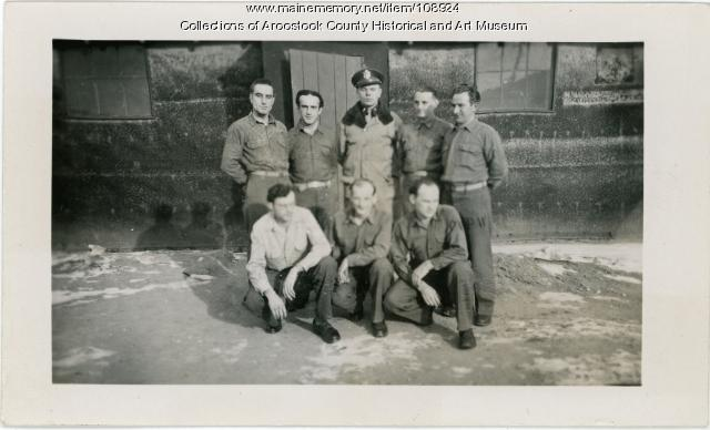 US officer and seven POWs, Houlton, ca. 1944