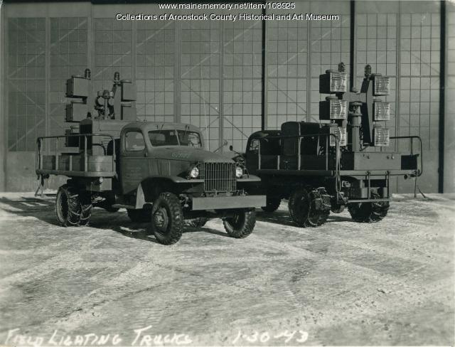 Field lighting trucks at the Air Base, Houlton, 1943