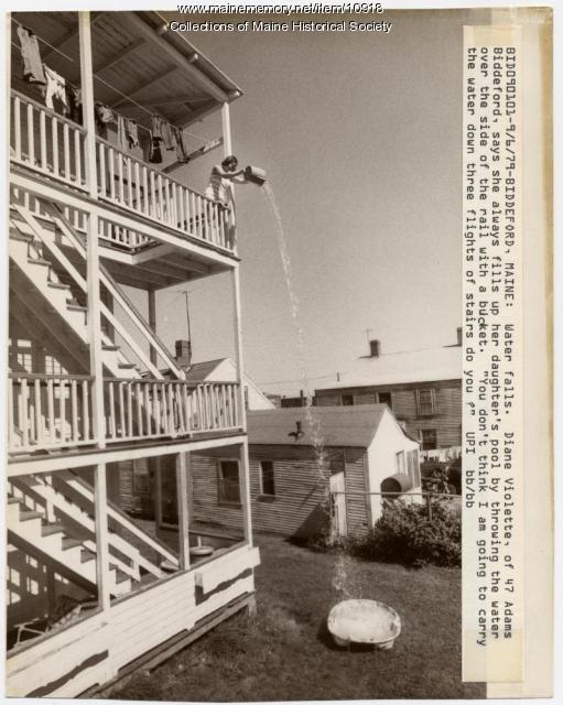 Filling the pool, Biddeford, 1979