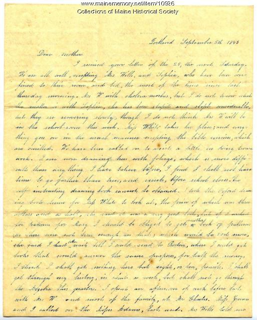 Letter from Lydia Patterson to mother, September 5, 1843