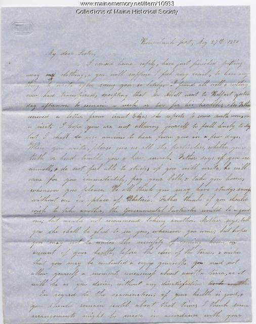 Lydia Patterson letter to sister, Mary Patterson, May 27, 1850
