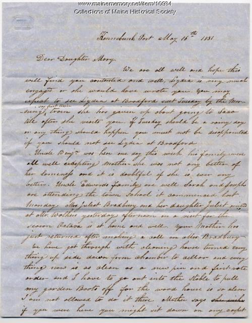 Actor P. Patterson letter to daughter Mary, Kennebunkport, 1851