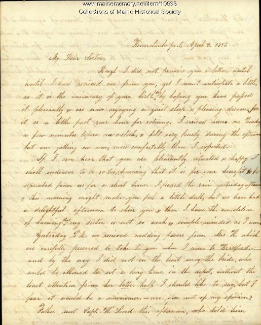 Lydia Patterson letter to Mary Patterson, April 3, 1851