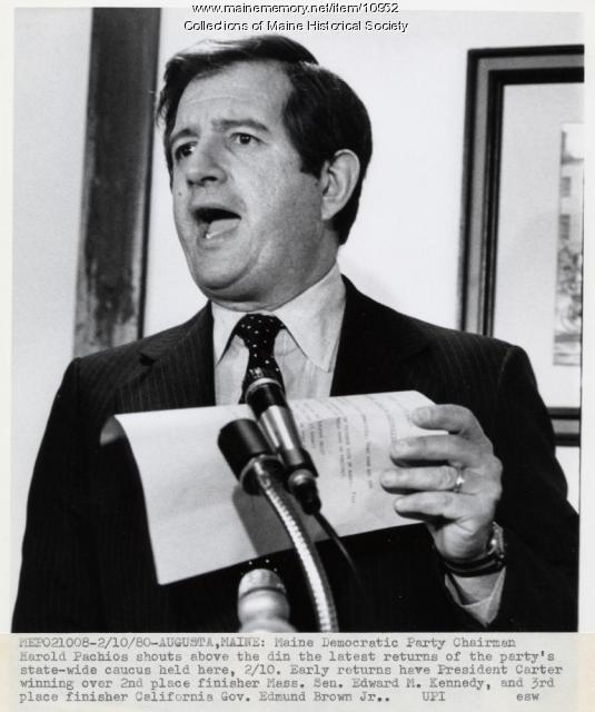 Announcing results, Democratic Caucus, 1980
