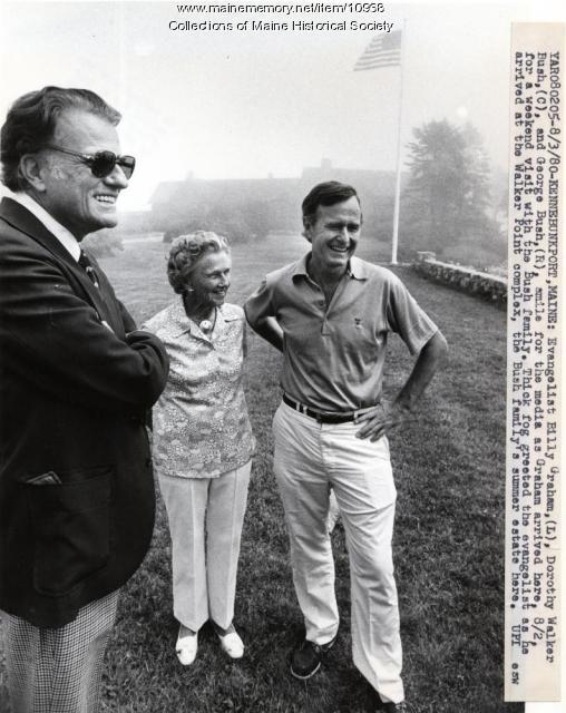George Bush, Dorothy Walker Bush, Billy Graham, Kennebunkport, 1980