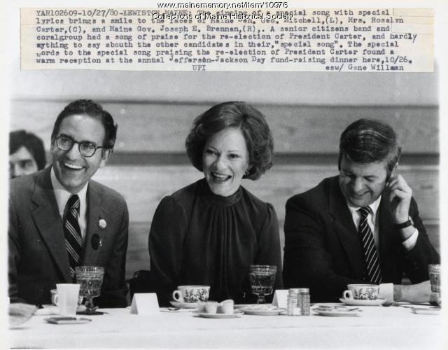 Democrats share laugh, Lewiston, 1980
