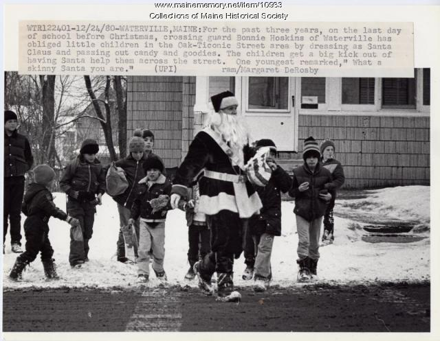 Crossing guard as Santa Claus, Waterville, 1980
