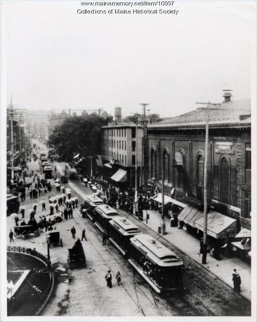 Trolley, Monument Square, Portland, ca.1900